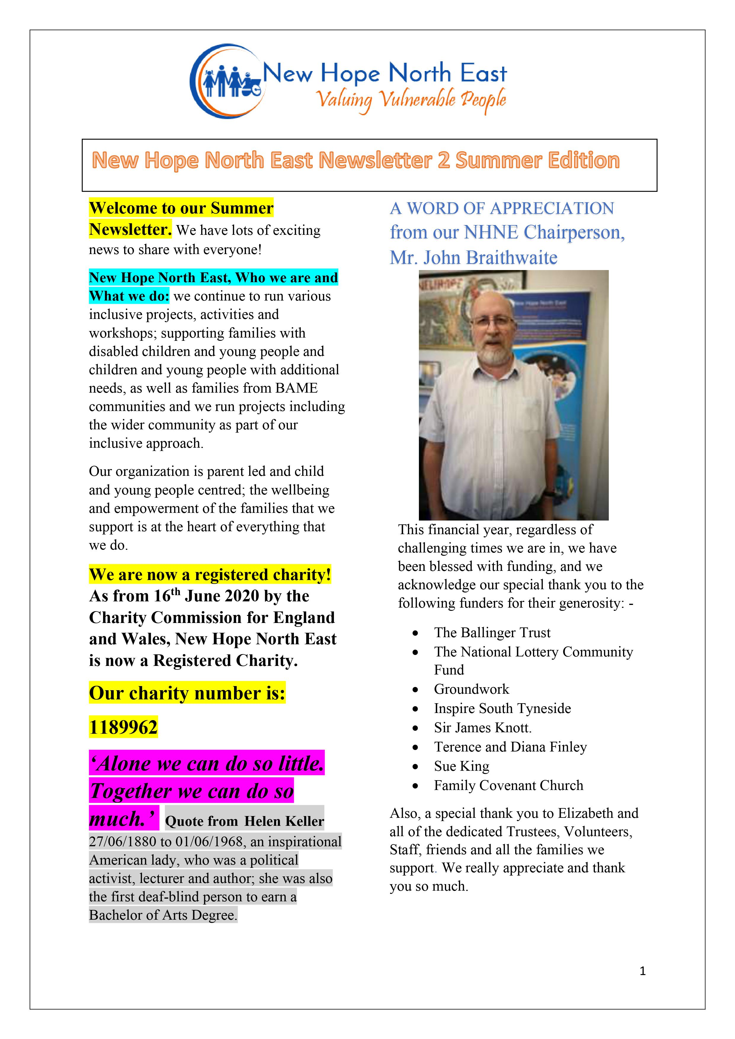 New Hope North East Newsletter 2 Summer Edition 2020